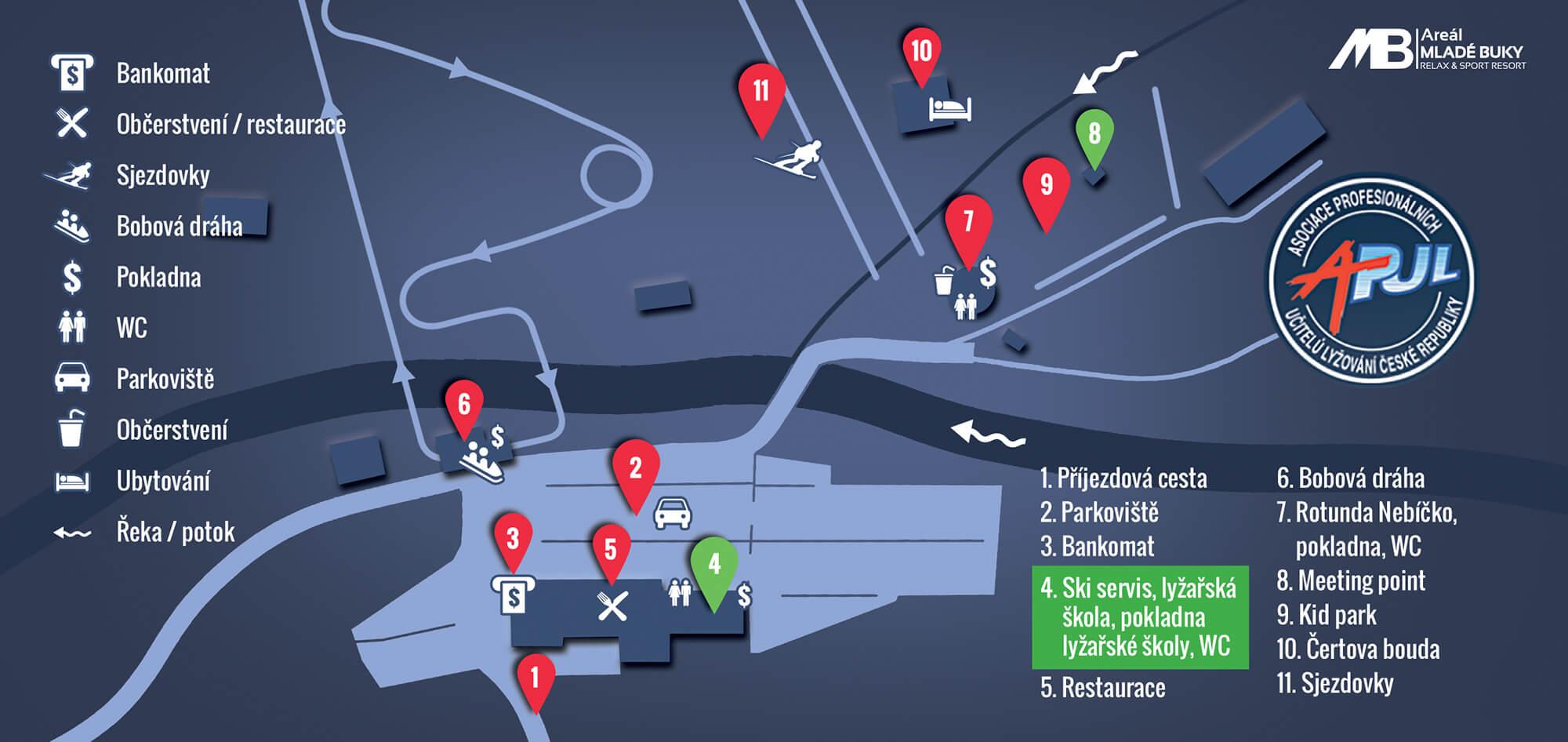 Mapa Areálu Mladé Buky