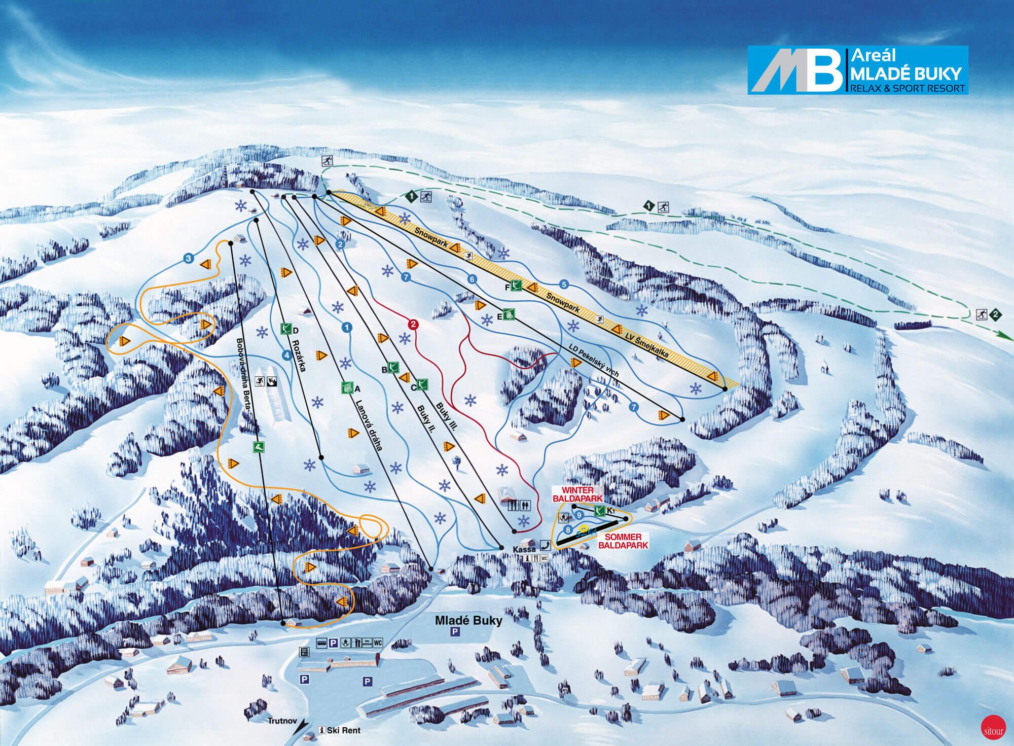Panoramatická mapa Areálu Mladé Buky