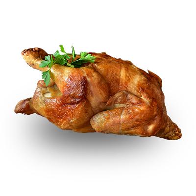 celé kuře, hořčice, kečup + pečivo